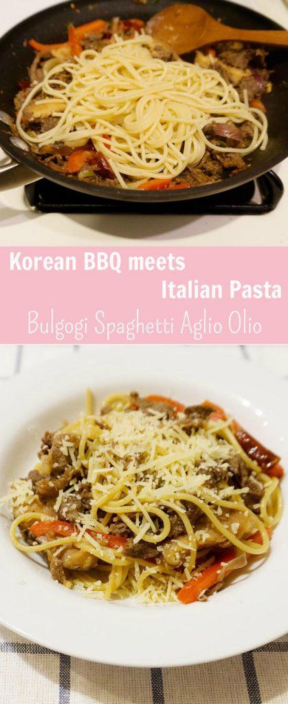Korean Bulgogi Spaghetti Aglio Olio (Korean Fusion Italian Pasta)