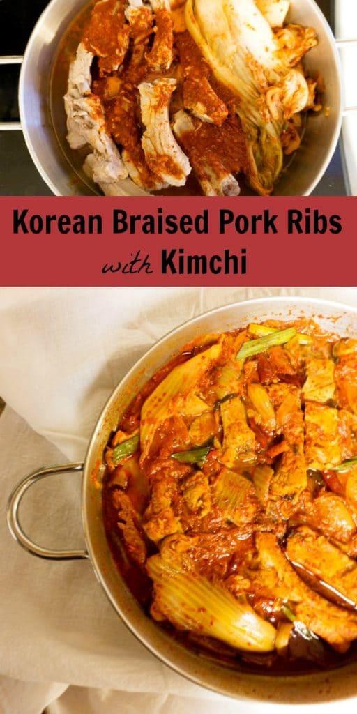 Korean Braised Pork Ribs with Kimchi - Kimchi Jjim